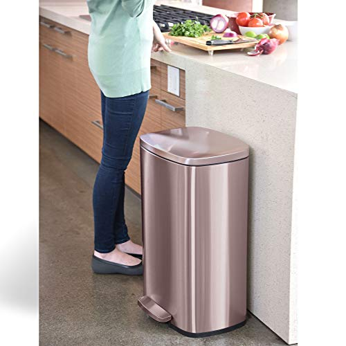 iTouchless SoftStep 13.2 Gallon Kitchen Step Trash Can with Odor Filter, 50 Liter Rose Gold Stainless Steel Pedal Garbage Bin for Home, Office, Business, Silent and Gentle Lid Open and Close, 13 Gal