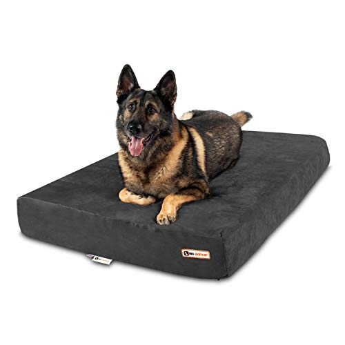Big Barker 7' Pillow Top Orthopedic Dog Bed - XL Size - 52 X 36 X 7 - Charcoal Gray - for Large and Extra Large Breed Dogs (Sleek Edition)