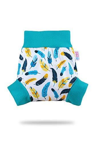 Pull Up Cover Petit Lulu | Taglia XL | Con Bordi In Pile | Riutilizzabile e lavabile | Pannolini lavabili | Pannolino di stoffa | Prodotto in Europa (Turquiose Feathers)