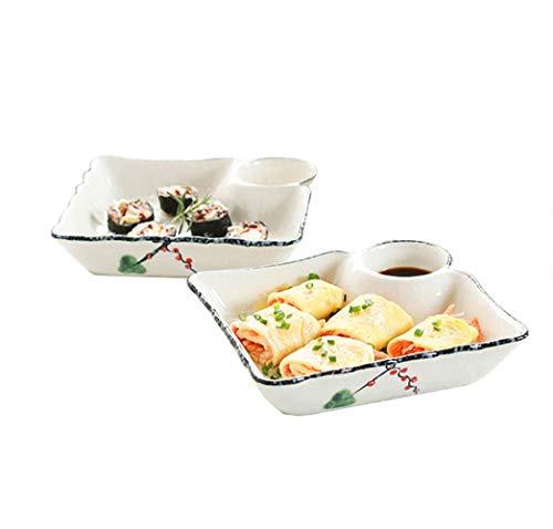 Keramische Dumplings Serveerschaal, Saus Dipping Schaal, Snack Plate, Ronde Snack Food Separator 2 Stks, 7.3×6.8 Inches