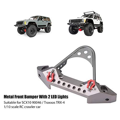 Dilwe RC Crawler Auto Frontstoßstange, RC Auto Metallstoßfänger mit 2 LED-Leuchten für Traxxas TRX-4 1/10 Skala RC Cars Zubehör(Titanfarbe)