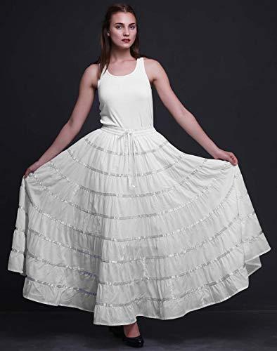 Phagun de las Mujeres Indias Ropa Larga Blanca Casual Falda Maxi Desgaste del verano-44