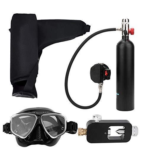 Tanque de Buceo Portátil, 1L Aviación Aluminio Mini Buceo Tanque de Oxígeno Respirador Subacuático Bomba de Aire de Alta Presión Cilindro de Buceo Kit de Equipo de Buceo Snorkeling con Inflador(Negro)