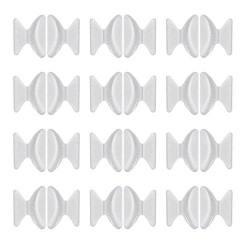 12 Pares de Almohadillas de Nariz de Silicona Almohadillas Adhesivas Antideslizantes para Gafas Gafas de Sol, Transparente, 2,5 mm