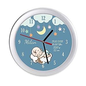 Wanduhr Geburtsdaten Geburtsuhr Baby Wolke Stern Geschenk Geburt Taufe Namen Uhr