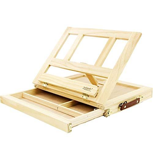 Mesa de madera Paseos para pintar Artista Niños Caja de cajones Portátiles Desktop Portátil Accesorios Maleta Pintura Hardware Art Supplies Caballete De Madera (Color : Wood Easel)