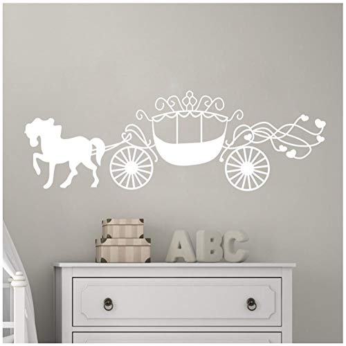 Paard en koets muur sticker verwijderbare vinyl sticker prinses slaapkamer meisje kamer decoratie 19x58 cm