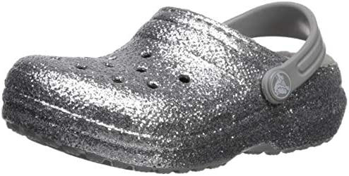Crocs Kid s Classic Glitter Lined Clog Silver 8 M US Toddler product image