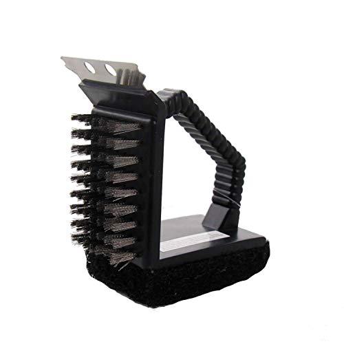 Unbekannt Grillschwamm Reinigungsbürste 3in1, 16x 10cm groß mit Griff und Metall Abstreifer
