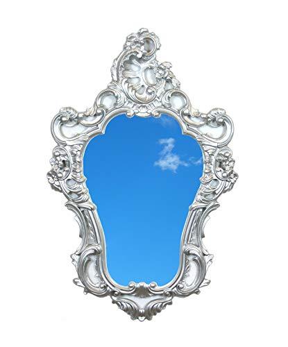 Ideacasa Miroir argenté style baroque Louis XVI imitation vintage 75 x 49 cm