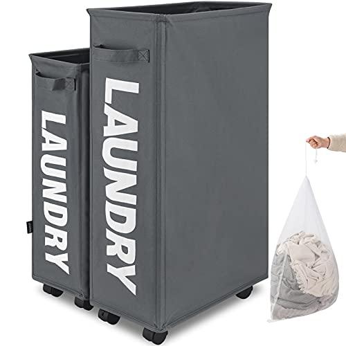 TOTANKI 27' Laundry Basket on Wheels, Tall Slim...