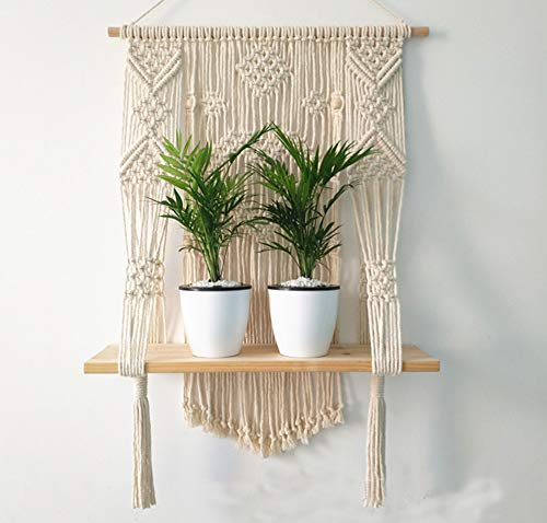 Macrame Plant Hanger Wall Hanging Shelf Indoor Rope Plant Pot Holder for Wall Decoration