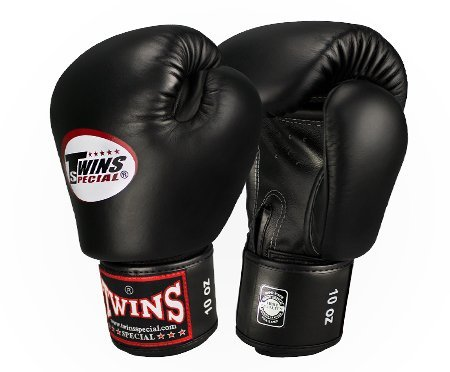 Twins Special Leather Boxing Gloves - BGVL-3 - w/Velcro Wrist Strap (Black, 16oz)