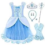 Jurebecia Princesa Dress Cenicienta Traje de Fiesta Vestido Fiesta de Cumpleaños Outfits Halloween Princesa Niñas Ropa 3-4 Años Azul