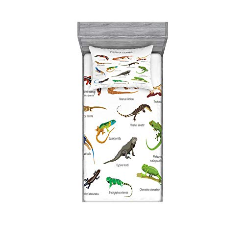 Ambesonne Reptile Fitted Sheet & Pillow Sham Set, Lizard Family Design on Plain Background Primitive Camouflage Exotic Creatures, Decorative and Printed 2 Piece Bedding Set, Twin, White Brown