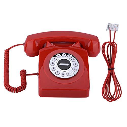 Heayzoki Teléfono Fijo Vintage, teléfono con Cable de Estilo Antiguo Retro de Estilo Occidental, teléfono con Cable de Escritorio de Oficina clásico Retro con Sonido Claro y Antiguo(Red)