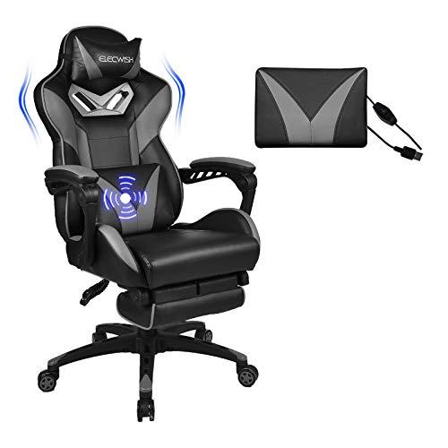 Puluomis Massage Racing Gaming Stuhl Bürostuhl - Ergonomisches Sportsitz höhenverstellbarer Computerstuhl Chefsessel Schreibtischstuhl mit Kopfstützen, verstellbaren Armlehnen und Fußstützen (Grau)