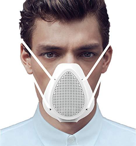 Unisex Elektrische Atemschutzmaske Maske Schutzmaske Waschbar, Aktive Luftversorgung Masken Mundschutz Wiederverwendbare Mund und Nasenschutz mit Ersatzfilter, Tragbarer Respirator Anti-Fog Staubdicht