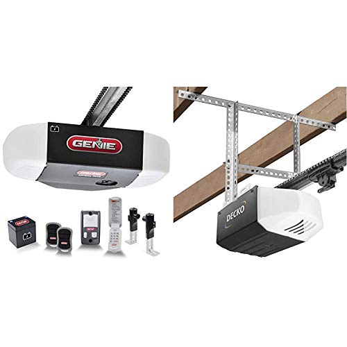 Genie Chain Drive 750 3/4 HPc Garage Door Opener w/Battery Backup - Heavy Duty Chain Drive & Decko 24999 Garage Door Opener Installation Kit