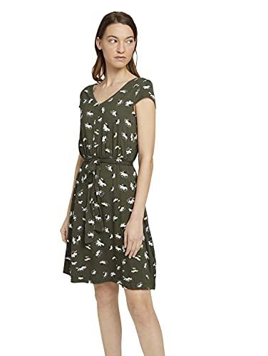 TOM TAILOR Damen 1026052 Basic Kleid, 27428-Khaki Floral Design, 40