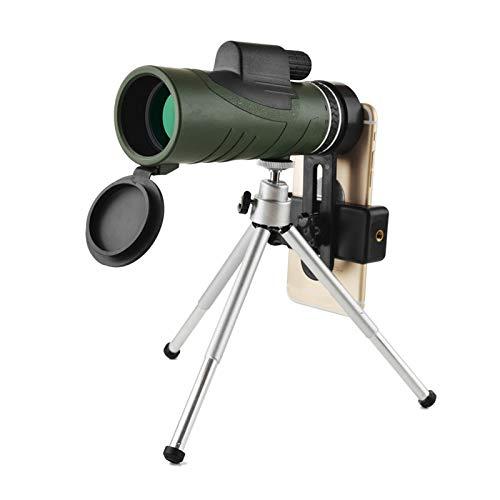 TASGK 10x42 Telescopio Monocular, HD Vida Impermeables Monocular Compactos con Adaptador de Teléfono y Trípode Prismas BAK4 FMC Monocular con Visión Nocturna con Poca Luz para Observación de Aves