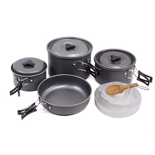 QAZWC-A1 14 pcs Trekking Kit for 3-4 People Portable Stainless Steel Cooking Set for Campfire Backpacking Pans and Pots Plates Gear for Outdoor Hiking Picnic