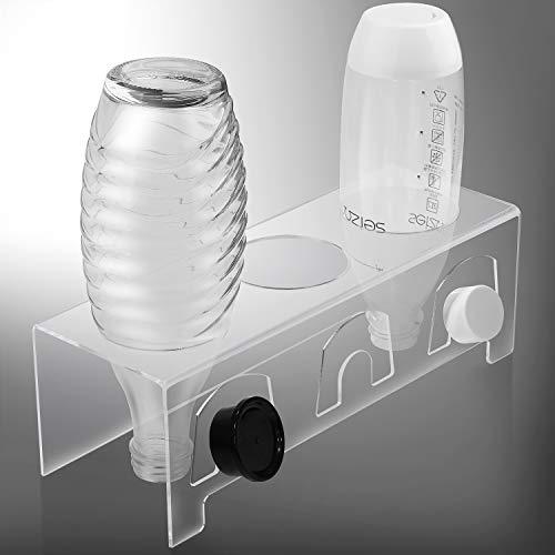 EXLECO SodaStream Flaschenhalter aus Acrylglas für 3 Flaschen und 3 Deckel Abtropfständer Flaschenhalter Dicke 3mm