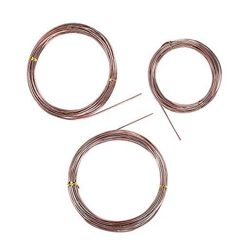 BEADNOVA Bonsai Wire 33 Feet Copper Bonsai Training Wire Aluminium Plant Training Wire for Bonsai Plant (Copper, 3 Sizes, 30m)