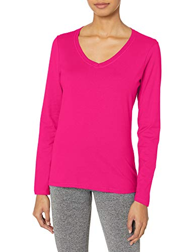 Hanes Women's V-Neck Long Sleeve Tee, Sizzling Pink, XX-Large