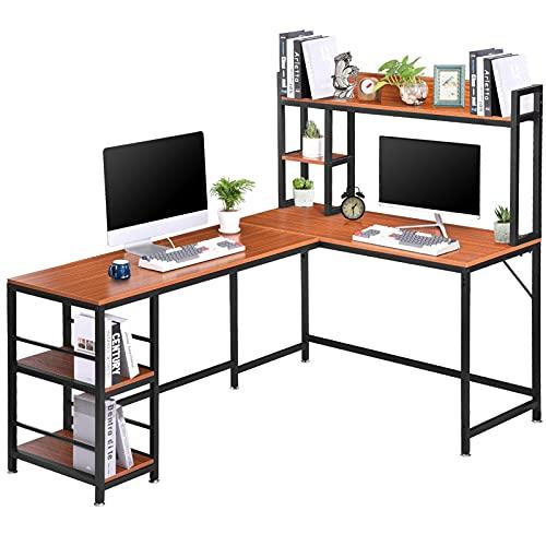 Escritorio de esquina en forma de L de 67 pulgadas, mesa de estudio multifuncional con marco de metal, con 2 compartimentos de almacenamiento ajustables, para el despacho/sala de estar