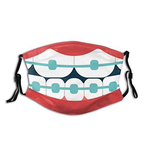 WXM Divertido boca dientes máscara al aire libre anti-polvo media cara niños adolescentes hombres mujeres amantes a prueba de polvo pendientes ajustables