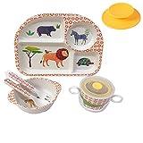Shopwithgreen 5Pcs/Set Bamboo Kids Dinnerware Set - Children Dishes - Food Plate Bowl Cup Spoon Fork Set Dishware, Cartoon Tableware, Dishwasher Safe Kids Healthy Mealtime, BPA Free(Lion)