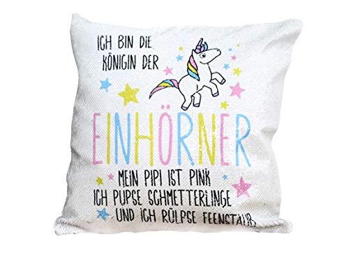 shirtinator Einhorn Kuschel-Kissen Wendepailletten inkl. Füllung mit Spruch I Einhörner Geschenk-e Geburtstag Weihnachten Freundin Deko