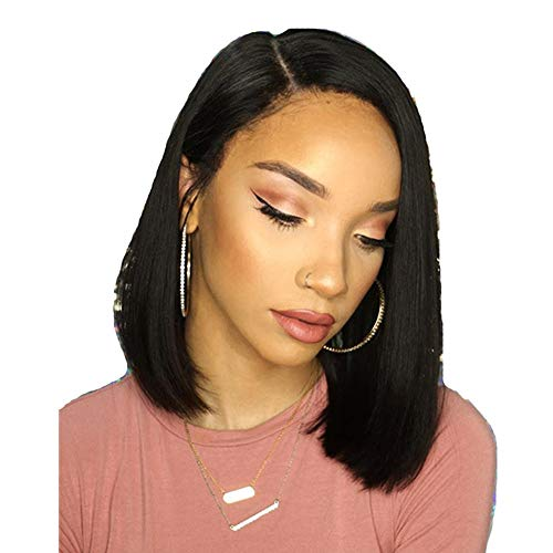 """Long Bob Wigs 14"""" Brazilian Straight Human Hair Wigs For African American Black Women Pre Plucked Hair Natural Black"""