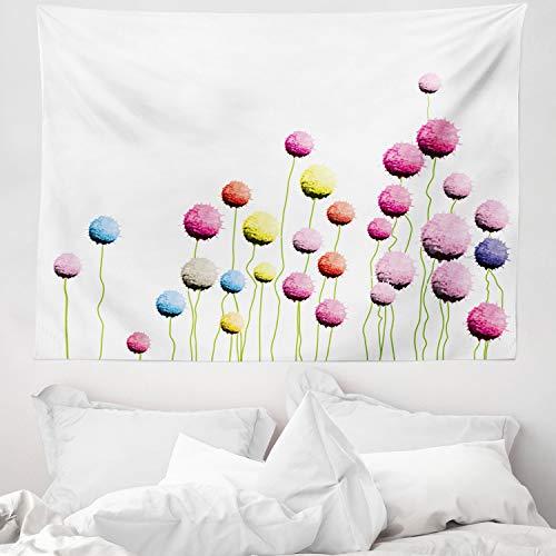 ABAKUHAUS Blumen Wandteppich & Tagesdecke, Amaranth Blumenmuster, aus Weiches Mikrofaser Stoff Wand Dekoration Für Schlafzimmer, 150 x 110 cm, Mehrfarbig