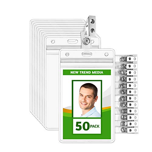 EcoEarth Vertical PVC ID Badge Holder with Metal Clips and Vinyl Straps (Sealable Fits 2.25x3.5 inch Inserts) (Clear 50-Pack), Waterproof ID Holder, ID Card Holder Bulk, Name Badge Holder, Name Tag