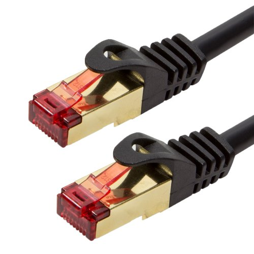 BIGtec Premium 50m Gigabit Ethernet LAN Kabel Patchkabel Netzwerkkabel schwarz - doppelt geschirmt - vergoldet