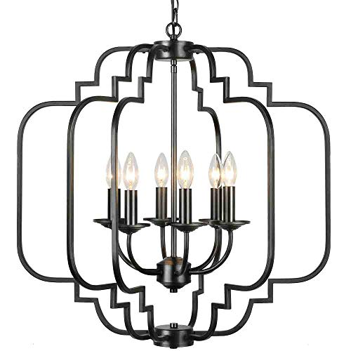 T&A Orb Black 6-Light Chandelier,Rustic Wrought Iron Large...