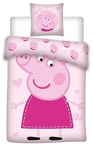 Peppa Pig - Juego de cama para bebé (100 x 135 cm + 40 x 60 cm, 100% algodón), diseño de Peppa Pig