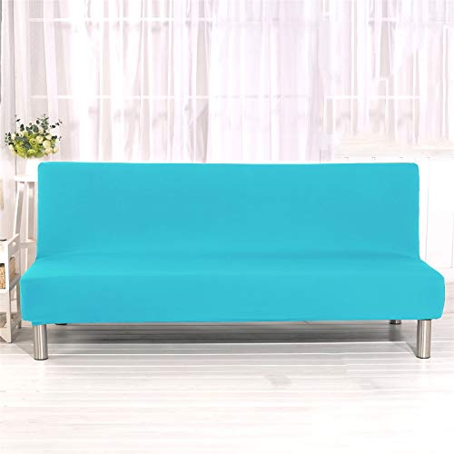 YXLJC Armlose Sofabezug, Stretch Elastischer Faltbares Schlafsofa Sofaüberwurf Sofahusse Couch überzug Ohne Armlehnen (Aqua,Large)