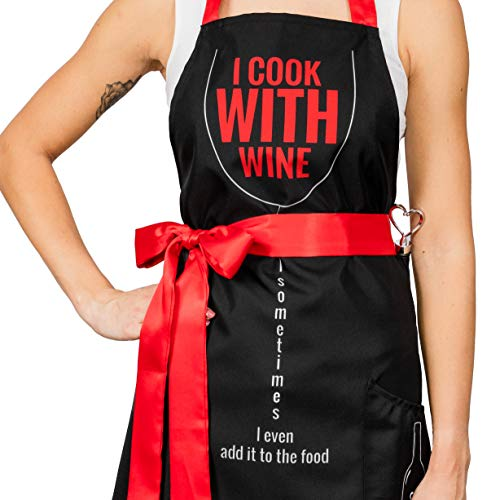diVinto Delantal para Mujer Cocinillas con Bolsillo y Tapón para Botella de Vino, Delantal de Cocina Divertido, Regalo para Mujeres