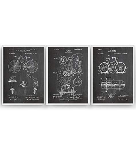 Bicycle Patent Poster - Set Of 3 - Cycling Cyclist Gift Cycle Art Print Bike Vintage Blueprint Retro Biker Wall Decor - Frame Not Included
