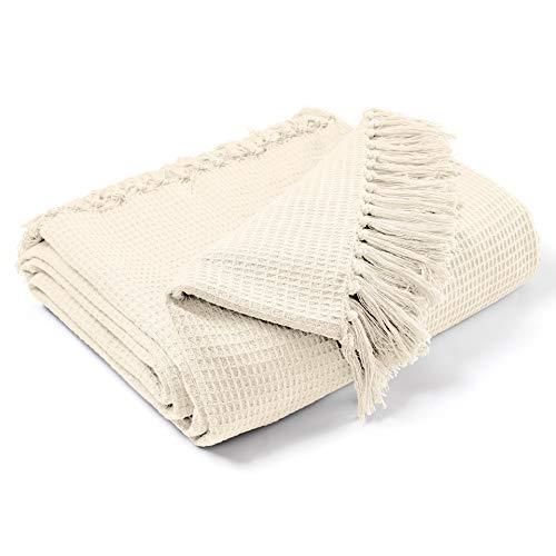 EHC Waffel Baumwolle gewebt King Size Sofa Throw 3-Sitzer Sofa / Stuhl / Doppelbett, 228 x 254 cm, Creme