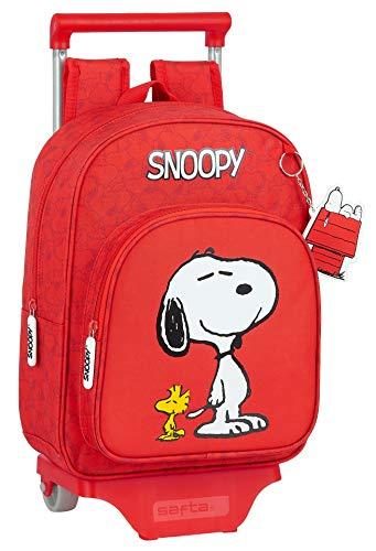 Safta Mochila Infantil de Snoopy con Carro 705, 260x110x340mm, rojo