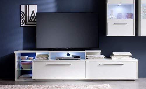 trendteam smart living Wohnzimmer Lowboard Fernsehschrank Fernsehtisch Kuba, 212 x 52 x 42 cm in Korpus Weiß, Front Weiß Glanz mit Aufsatzregal