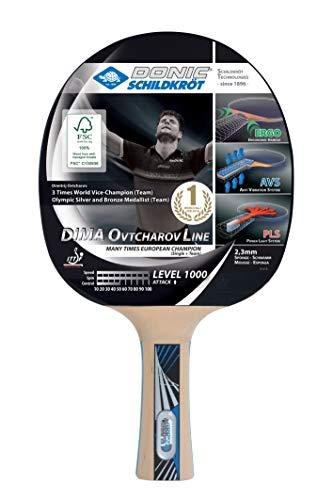 Donic-Schildkröt Tischtennisschläger Ovtcharov 1000 FSC, AVS, PLS & Ergo-Griff, 2,3 mm Schwamm, FSC Holz, Energy - ITTF Belag, 754412