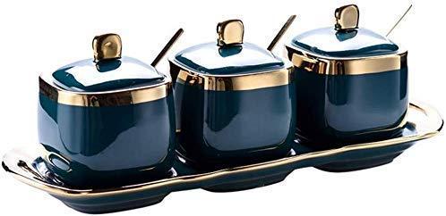 YLCCC Conjuntos Jar 3-Pack nórdica Retro Spice, Elegante Condimento de cerámica de Almacenamiento de condimentos Contenedores con cucharas de Servir y Tapas de Cocina Organización Cajas