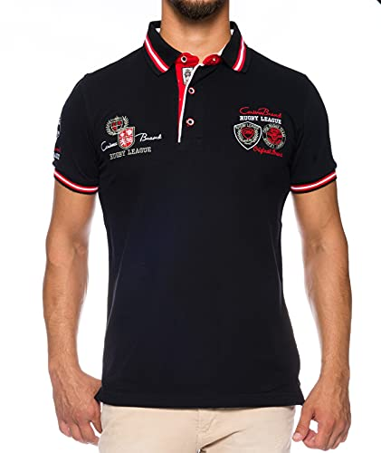 CARISMA Herren Polo-Shirt mit Stickerei, Black, XXL