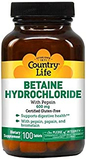 Country Life Betaine Hydrochloride 600 Mg, with Pepsin, 100-Count