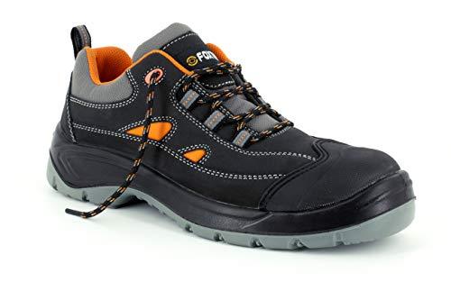 Foxter - Zapatos de Seguridad | Zapatillas de Trabajo para Hombre | Ligeros | Impermeable | Sin Metal | Piel Negra | S3 SRC